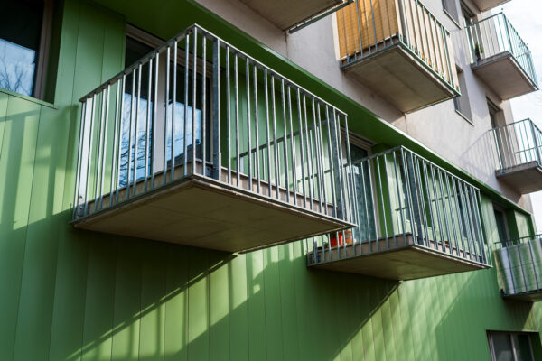 Apartment Block with Metal Balconies