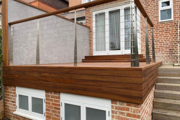 Outdoor Wooden Decking with Steel Balustrades